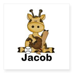 Jacob's Baseball Giraffe Square Sticker 3