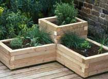 Corner wooden planters...this might be a good idea for planting saffron in, so the voles don't eat the bulbs.