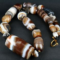 by SKJ | Large ancient agate beads, from central and western Asia |  Ancient Bead Art Designs | SOLD
