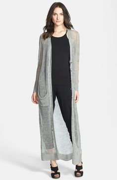 Eileen Fisher The Fisher Project Long V-Neck Cardigan An ankle-grazing cardigan from the Fisher Project is long on drama yet light and ethereal, thanks to the delicately sheer knit from Italy. Slouchy patch pockets complete the look.