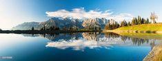 Mountain Range 'Wilder Kaiser' is reflecting in Lake Astbergsee, autumn