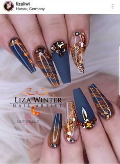 22 best blue & gold nails images in 2019 Fabulous Nails, Gorgeous Nails, Pretty Nails, Cute Acrylic Nail Designs, Best Acrylic Nails, Acrylic Nails Autumn, Gold Nail Designs, Glam Nails, Bling Nails