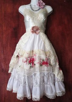 Lace floral dress cream ivory wedding by vintageopulence on Etsy