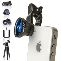 Ivation Universal 3-in-1 Smartphone Lens Kit w/180° Fisheye Lens, Wide-Angle Lens & Macro Lens - Includes Mini Tripod w/Ball Head - for The Apple iPhone 3g, 4, 4S, 5, 5s, 5c, iPhone 6, 6 Plus, iPod touch, iPad Mini (989898722334) Turns Virtually Any Mobile Device Into Awesome Camera Precision Engineered Lenses from High-Quality Materials Includes 3-Section Mini Tripod Kit w/Pan & Tilt Ball Head Compact, Lightweight & Portable; Fits in Shirt Pocket Clip-On Design for Easy & Quick Attaching…