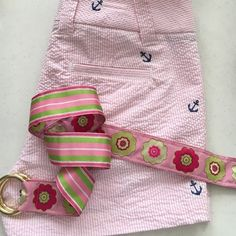 """Preppy Bundle J Crew seersucker nautical shorts and handmade pink ribbon belt. Neither have been worn, my daughter outgrew. If you like Lilly Pulitzer or VV, you will love these! Belt is 39"""". Shorts 3"""" inseam. City fit style. J. Crew Shorts"""