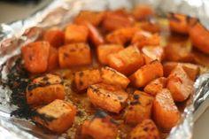 slow roasted sweet potatoes with soy honey glaze - a good side dish