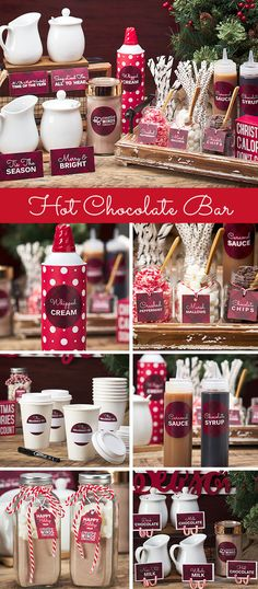 Hot Chocolate Bar - - Enjoy the season and show your coworkers you care. Ingredients, toppings & instructions for creating the perfect office hot cocoa bar. Christmas Hot Chocolate, Frozen Hot Chocolate, Hot Chocolate Bars, Chocolate Spoons, Mexican Hot Chocolate, Homemade Hot Chocolate, Hot Chocolate Recipes, Hot Chocolate Bar Wedding, Chocolate Gifts