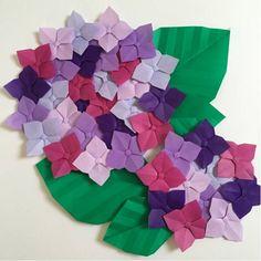 折り紙 あじさい 紫陽花 大&小セット 紫 幼稚園 施設 壁面飾り