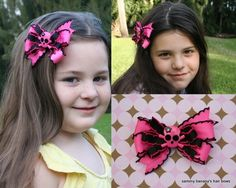 My bestseller rocker bow!!  Pink and Black Rockabilly SKULL Hair Bow by Sammy by iguania03, $6.99