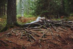 Untitled by Nikoline #portrait #woman #girl #roots #forest #trees