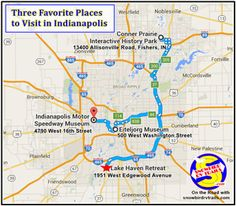 Our three favorite Places to Visit when we are in Indianapolis - a map and descriptions. New Port Richey, Indianapolis Indiana, Us Travel, Cool Places To Visit, Day Trips, The Good Place, Rv, Maps, Traveling