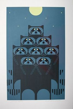 "Charley Harper print ""Rac Pack"" 