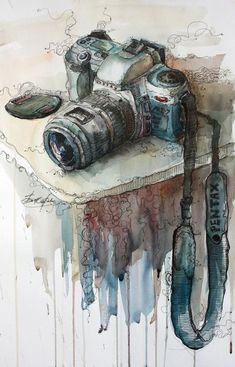 ideas for beautiful art drawings sketches perspective Art Aquarelle, Art Watercolor, Art And Illustration, Camera Art, Camera Painting, Camera Drawing, Camera Icon, Camera Hacks, Art Plastique