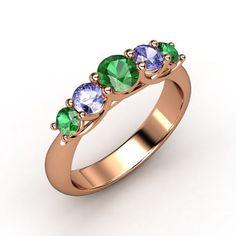 Round Emerald 14K Rose Gold Ring with Tanzanite