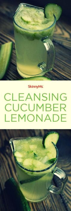 - Cleansing Cucumber Lemonade -  Stay hydrated with this Cleansing Cucumber Lemonade! The fresh-squeezed lemon juice in this revitalizing beverage delivers powerful detoxing properties. Lemon juice flushes toxins and alkalizes the body. Alkalizing is a process that involves consuming foods high on the pH scale.   via: @skinnyms