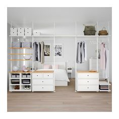 IKEA ELVARLI 5 sections White/bamboo 385 x 51 x cm You can always adapt or complete this open storage solution as needed. Maybe the combination we've suggested is perfect for you, or you can easily create your own. Ikea Closet, Closet Bedroom, Bedroom Decor, Ikea Bedroom, Stolmen Ikea, Elvarli Ikea, Closet Designs, Home Furnishings, Home Furniture