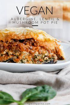 Quick Vegan Recipes, Vegan Lentil Recipes, Vegan Pot Pies, Vegan Pie, Vegan Dinner Recipes, Veggie Recipes, Vegan Food, Vegetarian Recipes, Healthy Comfort Food
