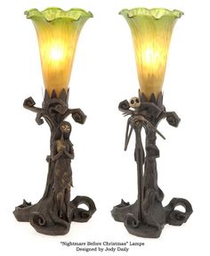 Jack and Sally Lamps Designed by Jody Daily  Bronze and Stained-Glass Shades ©Touchstone/ Disney Limited Edition (SOLD OUT)