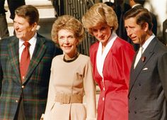 November 9, 1985: Prince Charles & Princess Diana being greeted by President Ronald Reagan & first Lady Nancy Reagan on arrival at the White House, Washington, D.C.  UPI.com