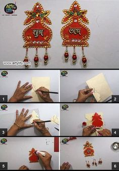 Find step by step instructions on How to make door decoration shubh labh from cardboard on our website. Kalash Decoration, Diwali Decoration Items, Thali Decoration Ideas, Diwali Decorations At Home, Festival Decorations, Diwali Diy, Diwali Craft, Diy Crafts Hacks, Diy Crafts For Gifts
