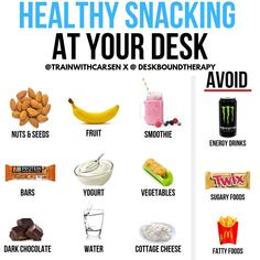 Lean Snacks To Assist In Your Diet Plan Healthy food choices at the desk are ? for sustained energy and productivity. When it comes to snacking at your desk, you need to be conscious of the food choices you're making. Healthy nutrient dense food play a Healthy Food Choices, Healthy Drinks, Healthy Recipes, Healthy Eats, Quick Healthy Snacks, Healthy Eating Tips, Healthy Options, Eating Habits, Drink Recipes