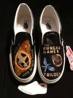 "Custom Designed Hand Painted Shoes- I swear, I am such a geek! I thought one of them said, ""May the OODS be ever in your favor"". LOL!"