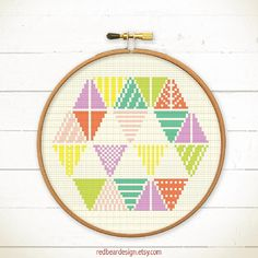 Modern Geometric Cross stitch pattern PDF - Triangles Become Hexagon - Stitch Instant download - Abstract colorful fun Minimalist home deco