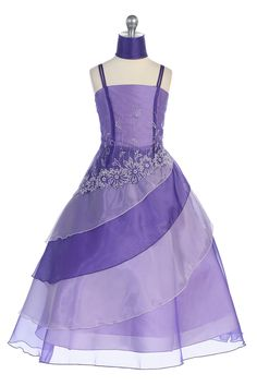 Purple Two Tone Embroidered Organza A-line Flower Girl Dress G2569P $56.95 on www.GirlsDressLine.Com