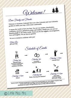 Wedding Welcome Letter  Timeline of Events  by LittleMissMrs