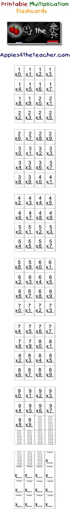 Learn your multiplication tables with these mini multiplication flash cards.  Multiplication flashcards reinforce multiplication tables from 1 to 9.    http://www.apples4theteacher.com/math/multiplication/flashcards/
