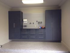 Here's a look at our garage cabinets with a powder-coating finish.