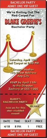 Hollywood Red Carpet Birthday Party Ticket Invitations from Print Villa...personalized just for you!