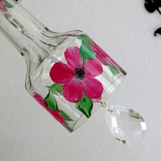 Glass Wind Chime, Upcycled bottle wind chime, Flowers, Pink,  Sun catcher, yard art, patio decor, lawn art by LindasYardArt on Etsy