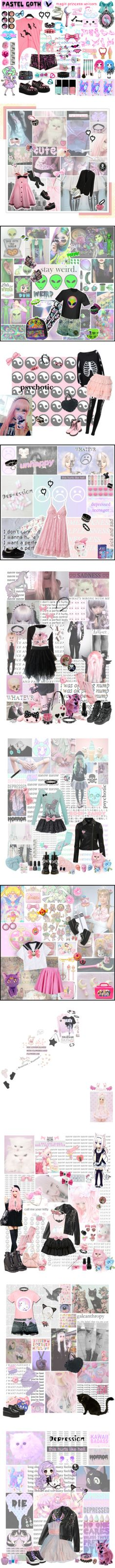 """Pastel Goth outfits - by me"" by kawaii-neko-chan ❤ liked on Polyvore"