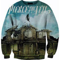 Pierce the Veil sweater crew neck sweatshirt ($60) ❤ liked on Polyvore featuring tops, hoodies, sweatshirts, shirts, sweaters, band merch, plus size sweatshirts, sweatshirts hoodies, crew-neck sweatshirts et blue sweatshirt