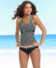 Nautica Swimsuit, Striped Racerback Tankini Top & Logo Belt Brief - Womens Shop Junior Swim - Macy's This top might work perfectly for her! Beachwear 2018, Beachwear For Women, Pretty Outfits, Cool Outfits, Fashion Outfits, Tankini Top, Cute Swimsuits, Women Swimsuits, Swimwear Brands