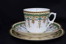 Victorian enamelled and gilded tea trio c 1845