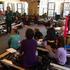 All eyes on Mel during workshop.  #LumbarSpine #SIJoint #TherapeuticPilates #PilatesEducation #PacificNWPilates #PortlandOR #March2016Workshops