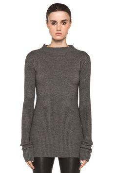 RICK OWENS  Tight Ala Long Sleeve Sweater in Light Grey
