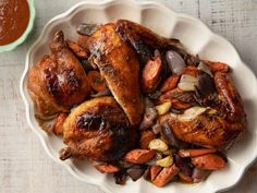 chicken recipes Spatchcock BBQ Chicken Recipe from Food Network (goes with Apple Brown Sugar BBQ Sauce recipe) Brown Sugar Bbq Sauce Recipe, Turkey Recipes, Chicken Recipes, Dinner Recipes, Turkey Dishes, Dinner Ideas, Food Network Recipes, Cooking Recipes, Vegan Recipes