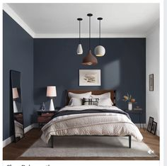Home modern bedroom color schemes Ideas for 2019 Dark Accent Walls, Accent Wall Bedroom, Gray Bedroom, Dark Bedroom Walls, Bedroom Bed, Queen Bedroom, Gray Walls, Glamour Bedroom, Bedroom Apartment