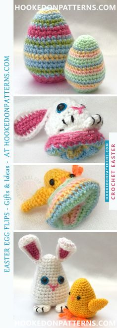 Easter Crochet Pattern - Easter Egg Flips by Hooked On Patterns. Cute crochet Easter eggs which flip to reveal a chick or bunny! Great alternatives to chocolate gifts this Easter. Purchase the crochet pattern now!
