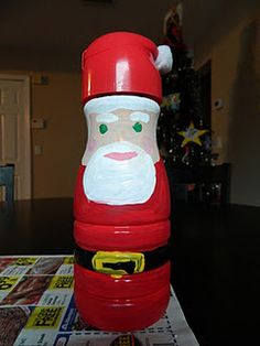 Coffeemate creamer bottle Santa Claus.  Fun craft for the kiddos!