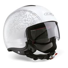 HJC IS-35 FLOWER Large WHITE SILVER LADIES OPEN FACE SCOOTER MOTORCYCLE HELMET