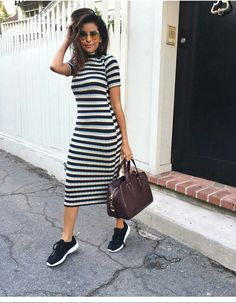 Striped black & white stretchy dress and black tennis shoes – Tennis Shoe Outfit Dresses With Tennis Shoes, White Tennis Shoes, Tennis Shoes Outfit, Tennis Dress, Dress With Sneakers, Dress Shoes, Ladies Sneakers, Tennis Sneakers, Cute Casual Outfits