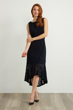 An evening out calls for an alluring dress to match, and this jet-black Joseph Ribkoff appliqué detail dress fits the bill. Ascot Outfits, Joseph Ribkoff Dresses, Cape Dress, Ruffle Dress, Midnight Blue, Short Sleeve Dresses, Black And White, Detail, Jet