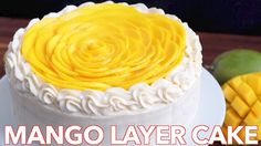 Fresh Mango Layer Cake Recipe - Natasha''s Kitchen This mango cake is bursting with fresh mango flavor! This is an impressive show-stopping mango cake recipe with surprisingly simple ingredients! A big thank. Mango Dessert Recipes, Fruit Recipes, Sweet Recipes, Liquor Cake, Layer Cake Recipes, Specialty Cakes, Pastry Cake, Pastry Recipes, Cake Toppings