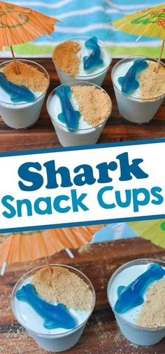 Shark Themed Snacks Looking for Shark themed party food for a shark birthday party or to celebrate Shark Week? These fun shark snacks are made with yogurt and jello and topped with a gummy shark. Shark Themed Snacks Looking for Shark theme Shark Snacks, Shark Party Foods, Boy Birthday Parties, Cake Birthday, Shark Birthday Ideas, Summer Birthday, Mermaid Birthday, Birthday Celebration, Birthday Party Desserts