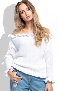 FIMFI I255 bluzka ecru Rewelacyjna bluzka damska,  wykonana z miękkiej i przyjemnej w dotyku sweterkowej dzianiny, fason zmysłowo odsłania ramiona Off Shoulder Blouse, Tops, Women, Fashion, Moda, Women's, Fashion Styles, Woman, Fasion
