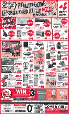 Straits Times Ad - 16 January 2015 (3 photos) - 7 BEST Deals products - 3 MUST BUY products - HSBC 8% Cashback Promotion - Maybank 0% IPP (Free BEST Vouchers)  View or zoom for more detail: https://go.bestdenki.com.sg/press-advert